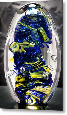 Solid Glass Sculpture -13e4- Cobalt And Yellow  Metal Print by David Patterson