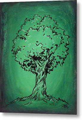 Solitary Tree In Green Metal Print by John Ashton Golden