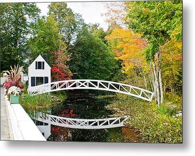 Somesville Bridge In Autumn Metal Print by Lena Hatch