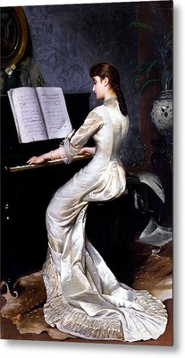 Song Without Words, Piano Player, 1880 Metal Print by George Hamilton Barrable