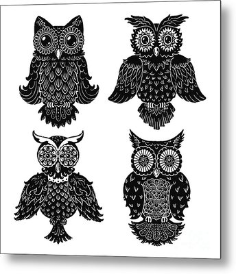 Sophisticated Owls All 4 Metal Print by Kyle Wood