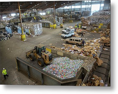 Sorted Waste At A Recycling Centre Metal Print by Peter Menzel
