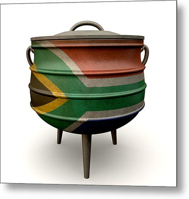 South African Potjie Pot Painted Flag Metal Print by Allan Swart