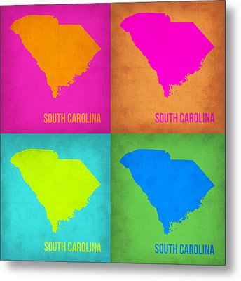 South Carolina Pop Art Map 1 Metal Print by Naxart Studio
