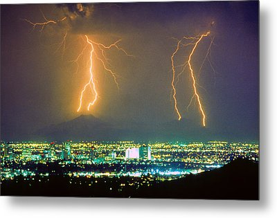 South Mountain Lightning Strike Phoenix Az Metal Print by James BO  Insogna