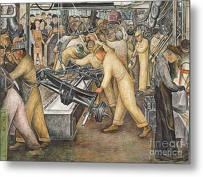 South Wall Of A Mural Depicting Detroit Industry Metal Print by Diego Rivera