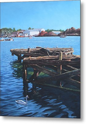 Southampton Northam River Itchen Old Jetty With Sea Birds Metal Print by Martin Davey