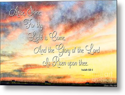 Southern Sunset - Digital Paint IIi With Verse Metal Print by Debbie Portwood