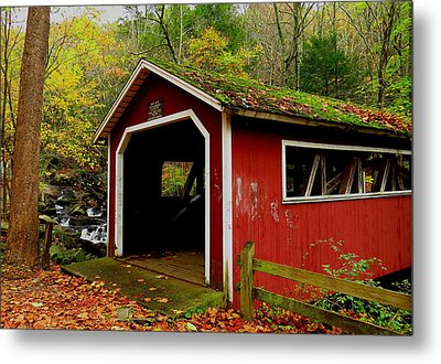 Southford Falls Covered Bridge And Waterfall Metal Print by Stephen Melcher