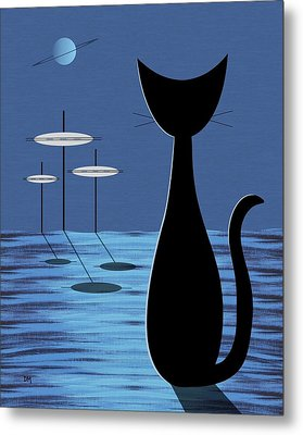 Space Cat In Blue Metal Print by Donna Mibus