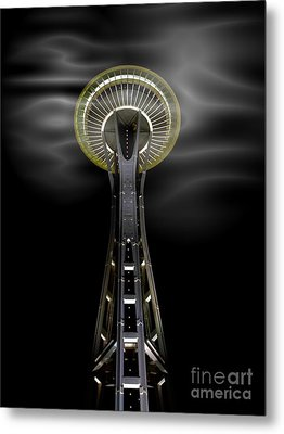 Space Needle And Clouds Metal Print by Chalet Roome-Rigdon