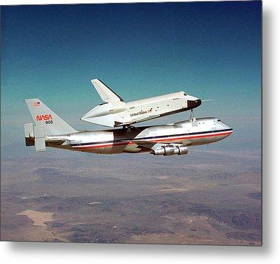 Space Shuttle Enterprise Piggyback Flight Metal Print by Nasa