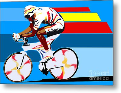 spanish cycling athlete illustration print Miguel Indurain Metal Print by Sassan Filsoof