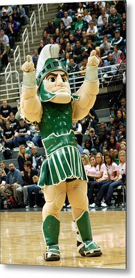 Sparty At Basketball Game  Metal Print by John McGraw