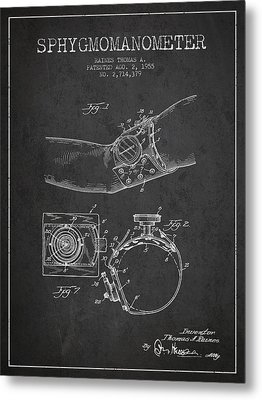 Sphygmomanometer Patent Drawing From 1955 - Dark Metal Print by Aged Pixel