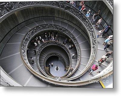 Spiral Staircase By Giuseppe Momo At The Vatican Museum. Rome. Italy Metal Print by Bernard Jaubert