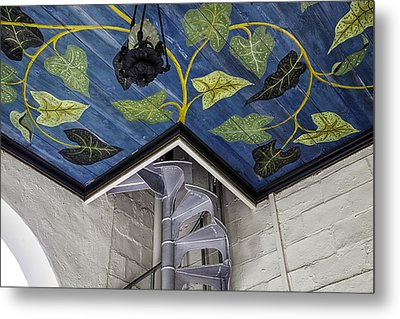 Spiral Stairs And Mural Metal Print by Lynn Palmer