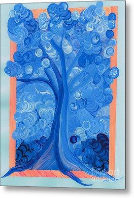 Spiral Tree Winter Blue Metal Print by First Star Art