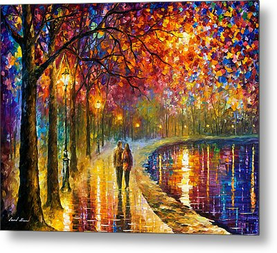 Spirits By The Lake - Palette Knife Oil Painting On Canvas By Leonid Afremov Metal Print by Leonid Afremov