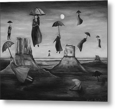 Spirits Of The Flying Umbrellas Bw Metal Print by Leah Saulnier The Painting Maniac