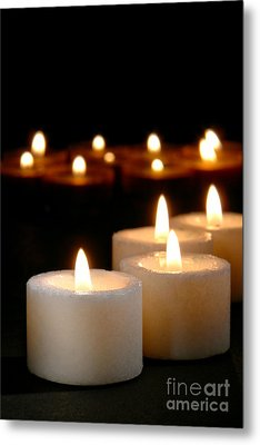 Spiritual Reflection Candles Metal Print by Olivier Le Queinec