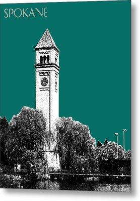 Spokane Skyline Clock Tower - Sea Green Metal Print by DB Artist