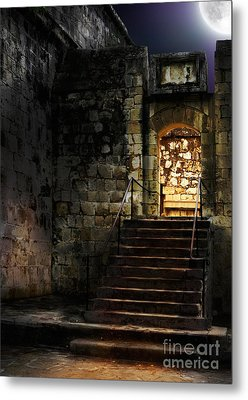 Spooky Backlit Door Way In Moon Light Metal Print by Oleksiy Maksymenko