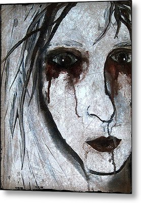 Spooky Gothic Zombie Portrait Painting Fine Art Print Metal Print by Laura  Carter