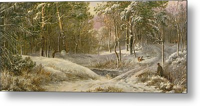 Sportsmen In A Winter Forest Metal Print by Pieter Gerardus van