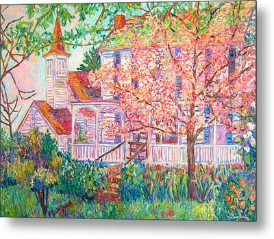 Spring Church Scene Metal Print by Kendall Kessler