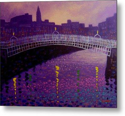 Spring Evening Ha Penny Bridge Dublin Metal Print by John  Nolan