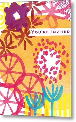 Spring Floral Invitation- Greeting Card Metal Print by Linda Woods