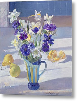 Spring Flowers And Lemons Metal Print by Timothy  Easton