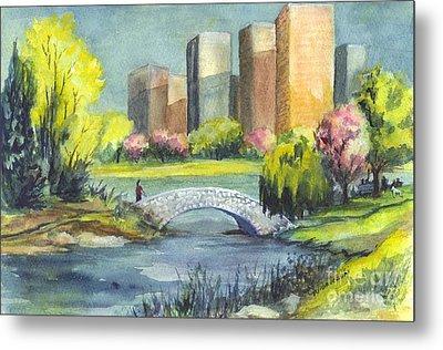 Spring  In Central Park N Y C  Metal Print by Carol Wisniewski