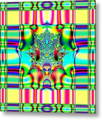 Spring Plaid Fabric Fractal Metal Print by Rose Santuci-Sofranko