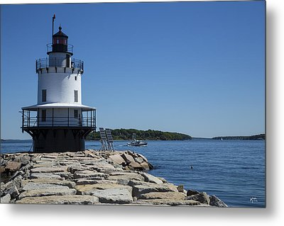 Spring Point Ledge Light Metal Print by Karol Livote