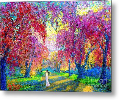 Spring Rhapsody, Happiness And Cherry Blossom Trees Metal Print by Jane Small