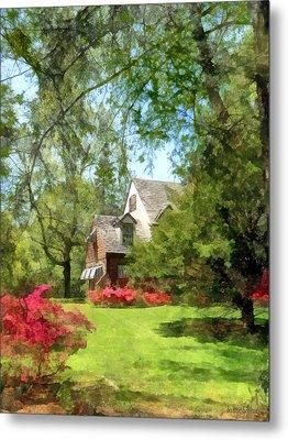 Spring - Suburban House With Azaleas Metal Print by Susan Savad