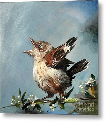 Spring's Promise - Mockingbird Baby Metal Print by Suzanne Schaefer