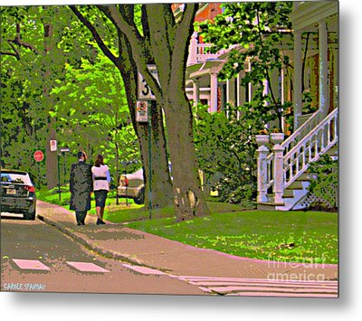 Springtime Stroll Through Beautiful Tree Lined Outremont Montreal Street Scene Art By Carole Spandau Metal Print by Carole Spandau