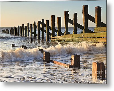 Spurn Point Sea Defence Posts Metal Print by Colin and Linda McKie