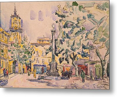 Square Of The Hotel De Ville Metal Print by Paul Signac