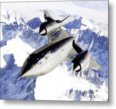 Sr-71 Over Snow Capped Mountains Metal Print by R Muirhead Art