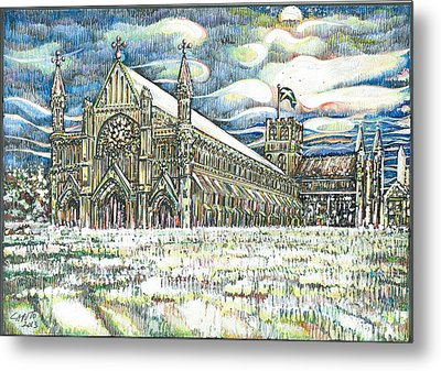 St Albans Abbey - At Sunset Metal Print by Giovanni Caputo