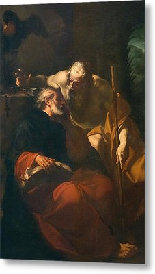 St. Benedict And A Hermit Metal Print by Domenico Maria Viani