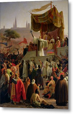 St Bernard Preaching The Second Crusade In Vezelay Metal Print by Emile Signol