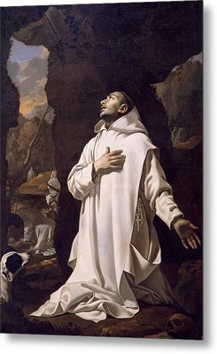 St Bruno Praying In Desert Metal Print by Nicolas Mignard