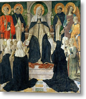 St. Catherine Of Siena As The Spiritual Mother Of The 2nd And 3rd Orders Of St. Dominic Metal Print by Cosimo Rosselli