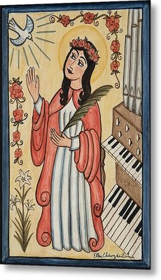St. Cecilia With Organ And Dove Metal Print by Ellen Chavez de Leitner