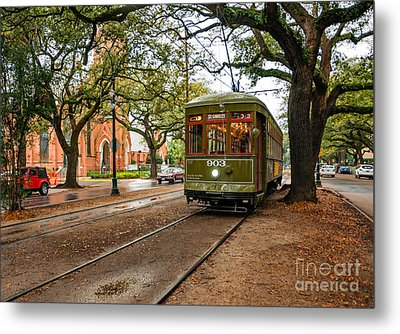 St. Charles Ave. Streetcar In New Orleans Metal Print by Kathleen K Parker